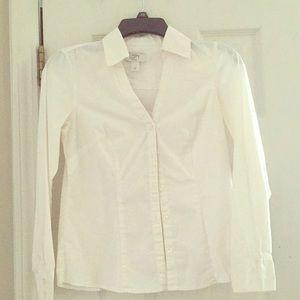 Ann Taylor Loft Pettit long sleeve white shirt